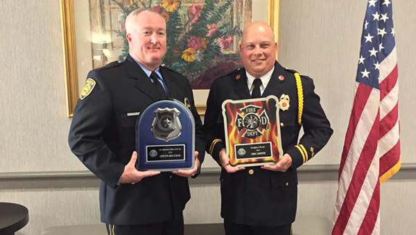 Pelham Police Det. Brad Jordan and Pelham Fire Capt. Christopher Carpenter were named Alabama's Police Officer of the Year and Firefighter of the Year by the American Legion organization June 17. (Contributed)