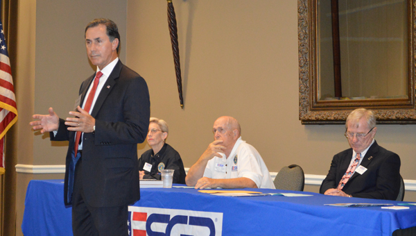 Congressman Gary Palmer addresses attendees of a June 17 ESGR awards luncheon concerning the treatment of military personnel. (Reporter photo/Jessa Pease)