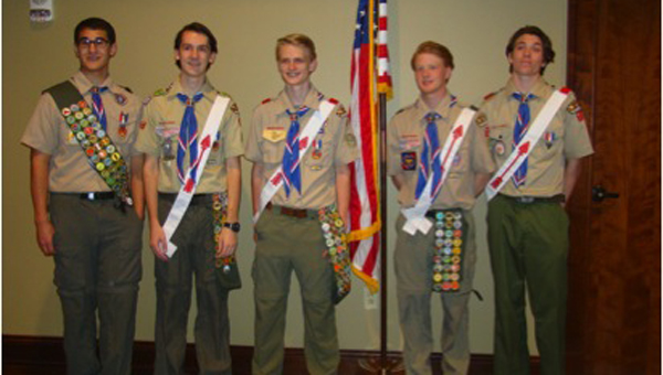 Eagle Scouts, pictured from left, are Anthony Goodman, Andrew Guillory, Nicholas Wozniak, Austin Saab and Devon Peterson. Not pictured: Dawson Stossel. (Contributed)