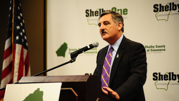 University of Montevallo President Dr. John W. Stewart III shared four tips with the business professionals at the Greater Shelby Chamber. (Reporter photo/ Neal Wagner)