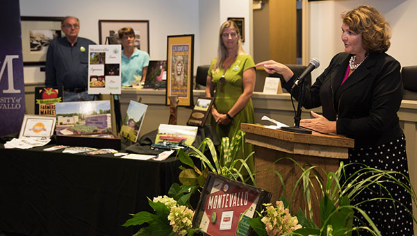 Main Street Alabama President and State Coordinator Mary Helmer addresses the crowd at Montevallo City Hall on June 14 celebrating Montevallo's designation as a Main Street Alabama program participant. (Reporter Photo/Keith McCoy)