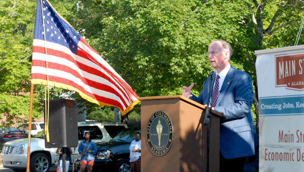 Alabama Gov. Robert Bentley, a Columbiana native, addresses those gathered in front of the Old Shelby County Courthouse on June 29 for the city's Main Street Alabama celebration and kickoff event. (Reporter Photo/Keith McCoy)