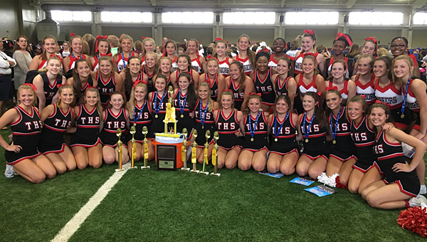 The Thompson High School varsity, junior varsity and freshmen cheer teams won several awards during a recent camp at the University of Alabama. (Contributed)