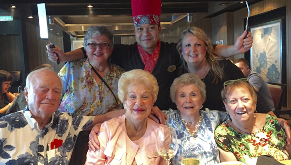 Lori Krueger, top right, marketing director for Danberry at Inverness, enjoys dinner with Danberry residents aboard the ship. (Contributed)
