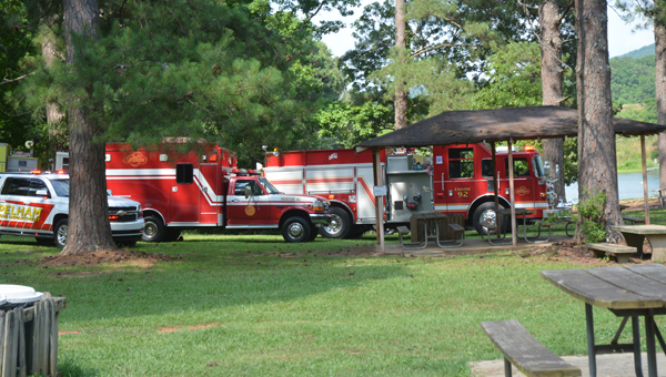 Responders arrive on the scene of a minor incident at Flipside Watersports in Oak Mountain State Park. (Reporter photo/Baker Ellis)