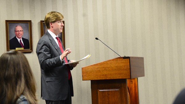 Whit Colvin, board counsel for the Hoover City Board of Education, discusses the Jefferson County ad valorem tax renewal at a June 13 Hoover BOE meeting. (Reporter Photo/Emily Sparacino)