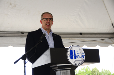 Southeastern Conference Commissioner Greg Sankey speaks to those gathered at the groundbreaking ceremony for the Hoover Sports and Events Center on the morning of June 14. (Reporter Photo/Emily Sparacino)