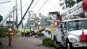 Alabama Power crews work to repair a power pole damaged in a June 15 wreck in old downtown Alabaster. (Reporter Photo/Keith McCoy)