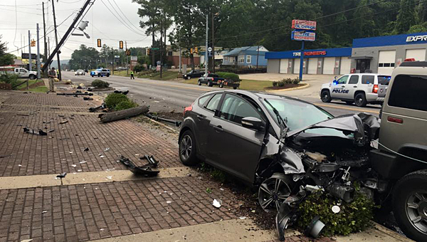 The Alabaster Police Department closed U.S. 31 on the morning of June 15 after a wreck damaged a power pole in old downtown Alabaster. (Contributed)