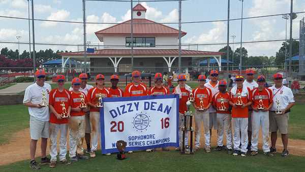 The Montevallo U14 Bulldogs won the U14 Dizzy Dean World series on July 20 with a come-from-behind, 6-5 win over Tallapoosa. (Contributed)