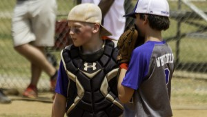 Chelsea 11U Hornet catcher Chris McNeill talks to pitcher Eli Whitfield during the 11U World Series in Southaven, Miss. The Hornets finished second overall in the age group. (Contributed)