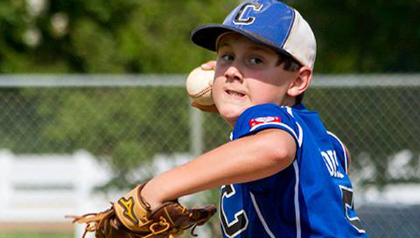 Chelsea pitcher Hayden Poist throws a fastball against Southaven (Miss.) during the 11U World Series. (Contributed)