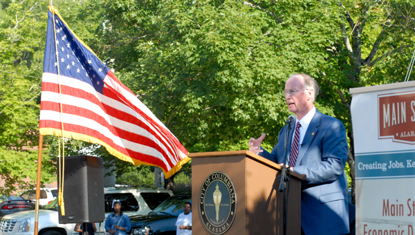 Alabama Gov. Robert Bentley, a native of Columbiana, spoke at the Main Street kickoff event back in June. (Reporter photo/Keith McCoy)