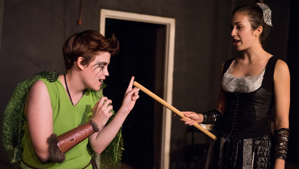 """Puck, played by Amy Strickland, and Cobweb, played by Ashley Pope, discuss recent the newcomers to the fairy woods during a rehearsal for South City Theatre's """"A Midsummer Night's Dream."""" (Reporter photo/Keith McCoy)"""