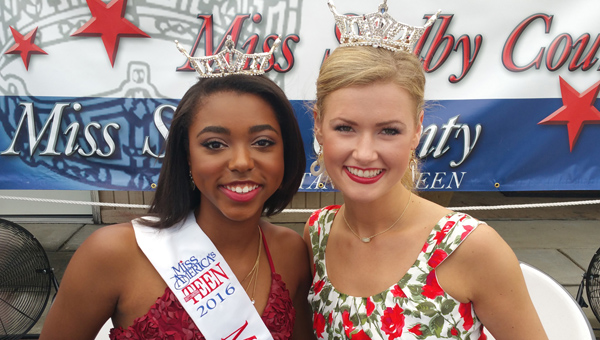 Miss Shelby County Outstanding Teen Kyra Callens poses with Miss Alabama Hayley Barber during Liberty Day in Columbiana. Barber was the reining Miss Shelby County when she won Miss Alabama in June. She will compete for the title of Miss America in September. Both ladies will pass on their crowns to new winners on July 15 at the Miss Shelby County Pageant at Shelby County High School. (Contributed)
