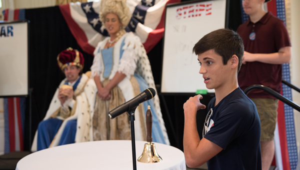 """Pelham High School students participate in the """"Stand Up the Right to Vote"""" Game Show hosted by King George at the American Village's 2016 Student Mock Election Convention. (Reporter photo/Keith McCoy)"""