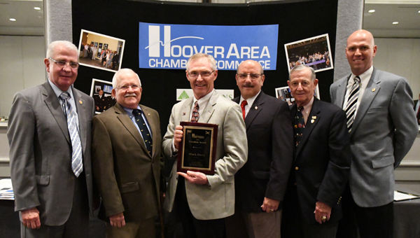 Hoover Mayor Gary Ivey; Veterans Committee Members Bob Beaty, Mark Davis and Paul Pocopanni; and Hoover City Councilmen John Natter and John Lyda were on hand at the Hoover Area Chamber of Commerce luncheon on July 21 as Davis was presented with the Chamber's annual Freedom Award.