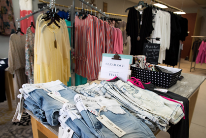 The boutique offers clothes for a range of ages and sizes.