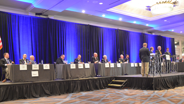 Candidates for Hoover mayor and city council answer questions during a forum on Aug. 16 at Birmingham Hyatt – The Wynfrey Hotel.
