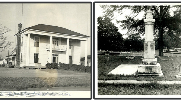 """Family photographs depict, left, Clark Farm near Griffin, Ga. During the Civil War the home was not burned, but looted, and cattle, chicken and farm products were ravaged by Yankee soldiers on their march to the sea. (This is written on the back of the photo.) Right, Amanda Elizabeth Jefferson Clark, 1823-1894. """"A consistent member of the M.E. Church from early childhood and the crown of our life. She hath done what she could."""" (Contributed)"""