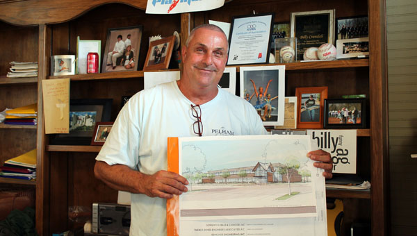 Pelham Parks and Recreation Director Billy Crandall shows off the new plans for Pelham's Recreation Center scheduled to open near the new Pelham Park Middle School. (Contributed)