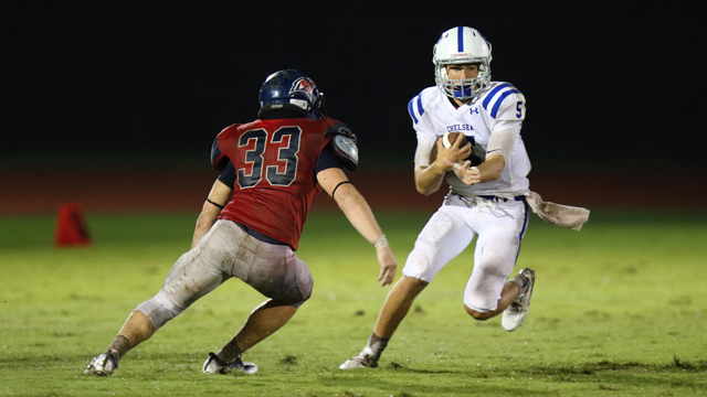 Chelsea's Matt Marquet avoids a tackle from Oak Mountain's Spencer Hughes on Aug. 19 during Chelsea's 49-33 win over the Eagles. (Contributed / Cari Dean)