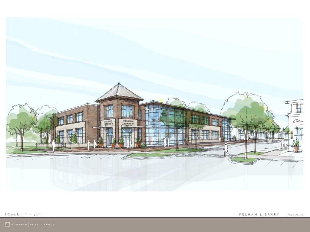 This is the architectural rendering of Pelham's new library that will be located in the City Center. (Contributed)