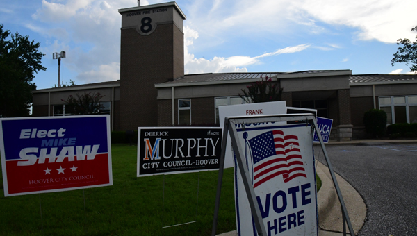 About 13,000 ballots were cast at 13 polling places, including Fire Station No. 8 in Greystone, in the Hoover municipal election on Aug. 23. (Photo by Stephen Dawkins)