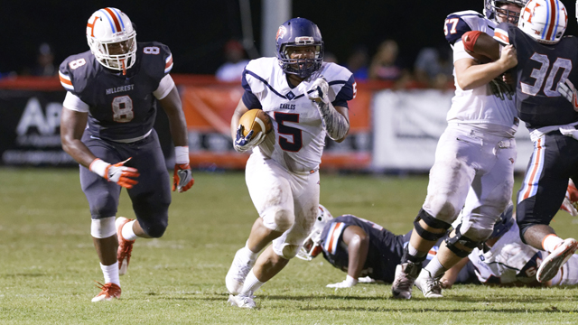 Oak Mountain's Jaylin Gaines looks for room to run during the Eagles' 41-21 loss to Hillcrest-Tuscaloosa on Aug. 26. (Contributed / Barry Clemmons)