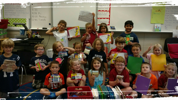 Mrs. Katie Thompson's first grade class at Mt Laurel Elementary School compiled school supplies to send to Prairieville Middle School in Louisiana. The school received 200 new students that were relocated due to flooding, but didn't have enough supplies to support them. (Contributed)