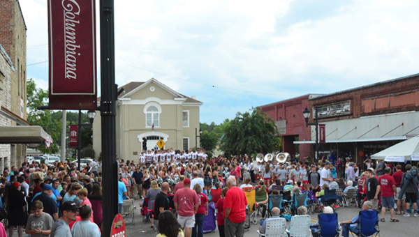 Columbiana hosted a community pep rally on Main Street, Thursday, Aug. 18 to celebrate the start of the new athletic year. Sports teams as well as the band and cheerleaders were all in attendance to be recognized by the community. (Reporter photo/Alec Etheredge)