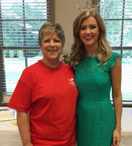 Miss Alabama Hayley Barber poses with Miss Shelby County Pageant Director Pam Oliver. The Vignette Club of Shelby County hosted a send-off party for Barber, who will compete in the Miss America Pageant on Sept. 11. (Contributed)