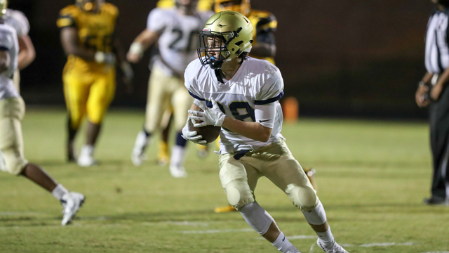 Carson Donnelley had two interceptions on Friday night in Briarwood's big 23-14 win over 5A No. 4 Mortimer Jordan. (Contributed / Todd Kwarcinski)