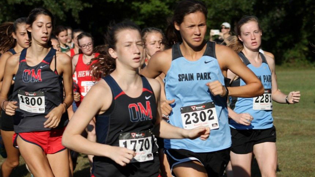 Spain Park's Mary Katherine Tedder (front right) finished fourth overall in the girls' meet at the Oak Mountain XC Invitational, leading the Lady Jags to a win. (Contributed)