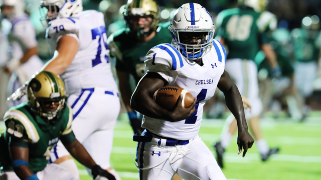Zalon Reynolds scored three rushing touchdowns against Pelham on Sept. 16 to lead the Hornets to a 55-35 win. (Contributed / Cari Dean)