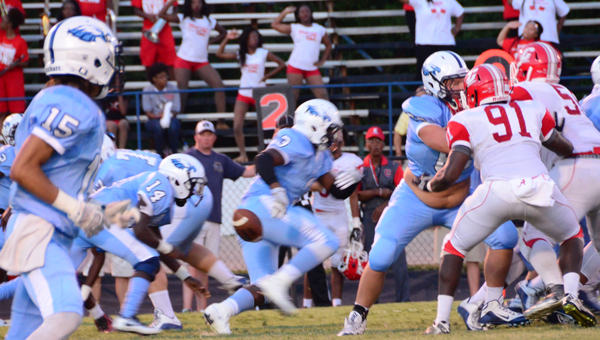 Calera quarterback Jermaine Ross loses a fumble early in the first quarter. The junior quarterback had a rough start, but ended up throwing for 245 yards and leading his team to a 45-22 win over Central Tuscaloosa. (Reporter photo/Alec Etheredge)