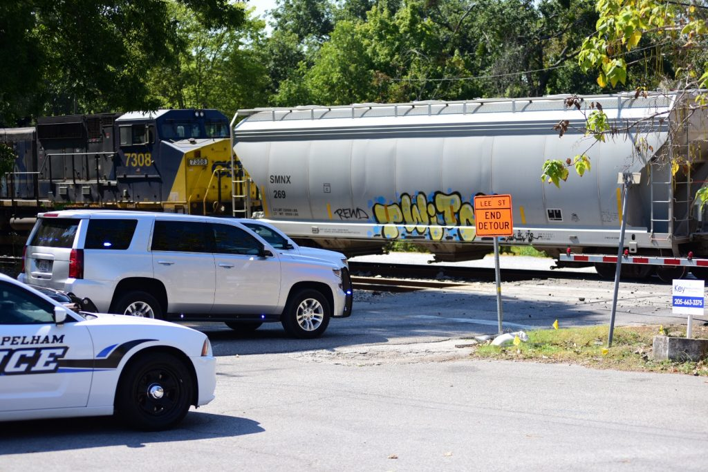Traffic is stalled after a wreck involving a train and cement truck. (Reporter photo/Keith McCoy)