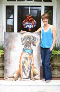 """Preserve artist Katie Adams displays """"Harold,"""" a 36-by-48 oil painting on canvas."""