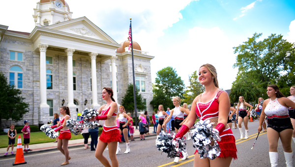 The Shelby County High School dance team leads the way at the 2016 homecoming parade on Friday, Sept. 23. (Photo by Keith McCoy)
