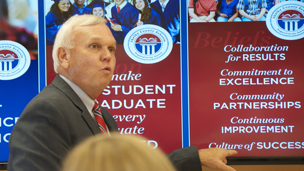 Shelby County Superintendent Randy Fuller addressed the CBA at a luncheon on Wednesday, Sept. 14, to give an update on Shelby County Schools. (Reporter photo/Alec Etheredge)