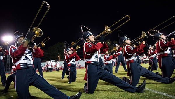 Members of the Oak Mountain Spirit of Cahaba Marching Band perform during the Shelby County Showcase of Bands. The showcase featured all bands from the Shelby County School System performing at Shelby County High School in Columbiana. (Reporter photo/Keith McCoy)