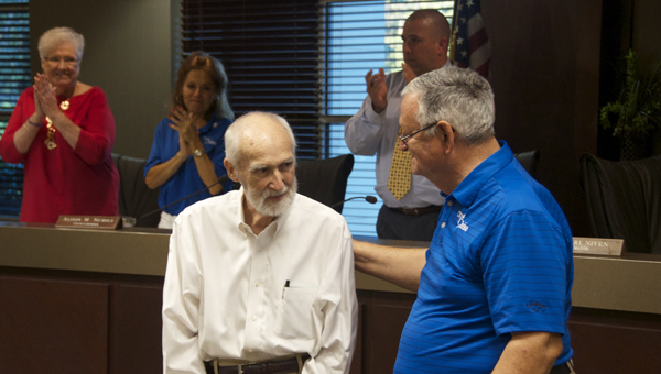 "Chelsea's first clerk and the architect of two fire stations and the brand new Chelsea Community Center, Bob Wanninger, was honored by the Chelsea City Council on Tuesday, Sept. 20. Mayor Earl Niven announced County Road 337 would be renamed ""Wanninger Way,"" in his honor. (Reporter photo/Alec Etheredge)"