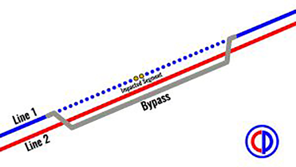 Pictured is a diagram of the bypass installed by Colonial Pipeline, in order to restore function to the Line 1 pipeline. (Contributed)