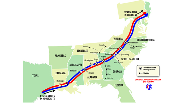 Pictured is a map showing where Colonial Pipeline delivered gasoline to mainline terminals, which will then be sent to several local terminals in affected areas. (Contributed)