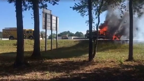 Alabaster firefighters arrived on the scene of a truck fire on Interstate 65 southbound near the Shelby County Airport exit. (Contributed)