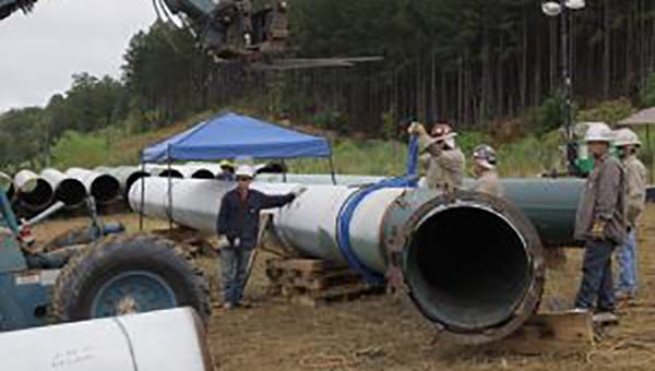 Pictured is a portion of the bypass pipe that helped restart Line 1 on Sept. 21. (Contributed)