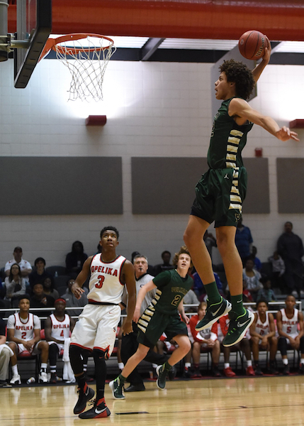 Pelham senior forward Alex Reese, shown here in a game in the 2015-16 season, has verbally committed to play his college basketball at the University of Alabama. (File)