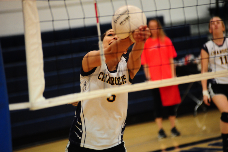 Tessa Nielsen makes a play on a ball during Cornerstone's AISA A Final Four win over Sumter Academy Oct. 20. The Lady Chargers advanced to the finals, but came up short against Edgewood Academy. (Reporter Photo / Baker Ellis)