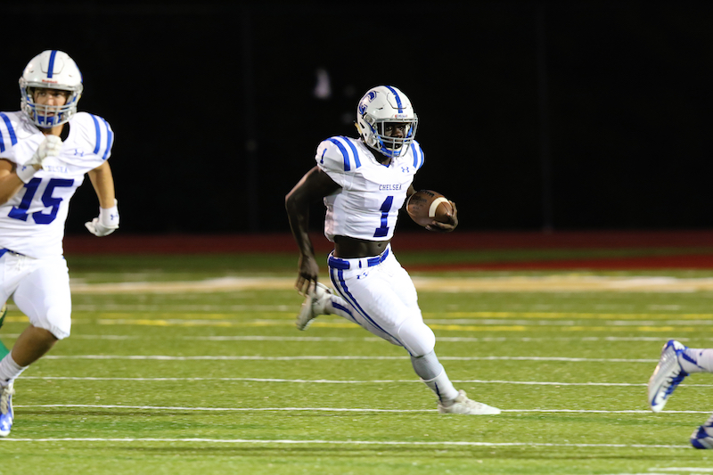 Chelsea's Zalon Reynolds rushed for 260 yards against Cullman in the regular season finale on Oct. 28. Chelsea moved to 8-2 with a 45-38 win. (File)
