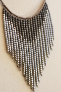 This hematite necklace is one of many pieces Mashburn designed for LillyBella. (Photo by Dawn Harrison)